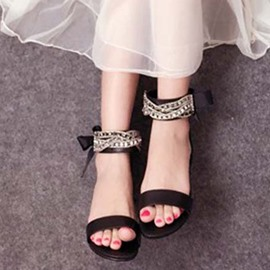 Ericdress Open Toe Rhinestone Plain Flat Sandals with Bowtie