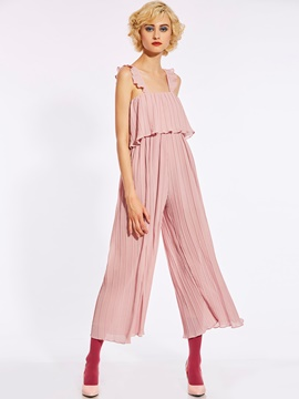 Loose Pleated Ankle Length Wide Legs Women's Jumpsuit