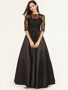 Ericdress Scoop Neck Beaded A Line Long Evening Dress