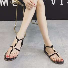 Ericdress Silk Fabric Buckle Plain Flat Sandals