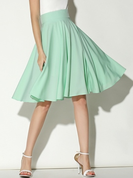 Ericdress Pleated Knee-Length Usual Skirts