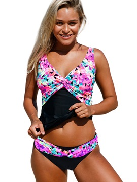 Ericdress Geometric Pattern Patchwork Pleated Tankini Set (Plus Size Available)