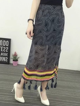 Ericdress Tasse Print Ankle-Length Usual Skirts