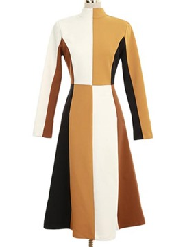 Ericdress High Neck Long Sleeves Color Block Sweater A Line Dress