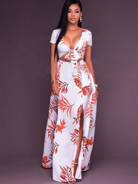 Ericdress Simple Print Front Knotted Backless Slit Maxi Dress