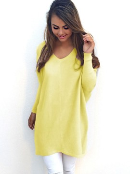 Ericdress Loose V-Neck Mid-Length Knitwear