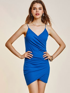ericdress spaghetti strap backless féminin bodycon robe