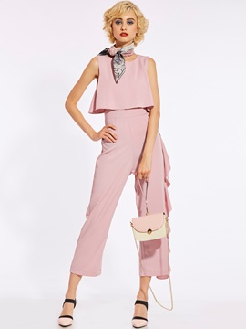 Loose Plain Wide Legs Women's Jumpsuit