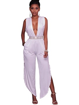 Ericdress Deep V-Neck Backless Lace-Up Jumpsuits Pants