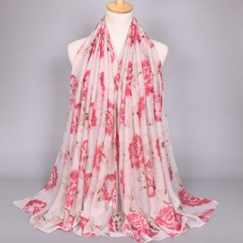 Ericdress Voile Flower Printed Chinese Style Scarf for Women