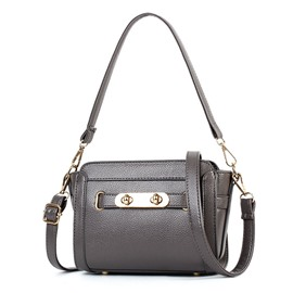 Ericdress Solid Color PU Crossbody Bag