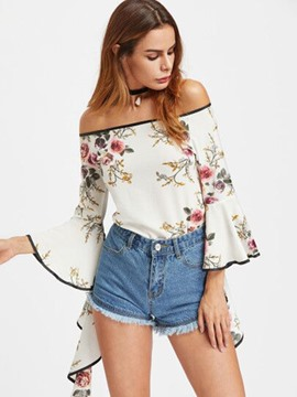 Ericdress Slash Neck Floral Bell Sleeve Blouse