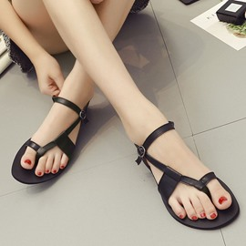 Ericdress Strappy Thong Plain Flat Sandals