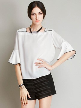 Ericdress Loose Square Neck Ruffle Sleeve Blouse