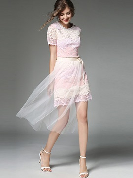 Ericdress Patchwork Lace Layered Leisure Suits