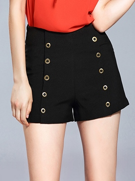 Ericdress High-Waist Button Pure Color Shorts Pants