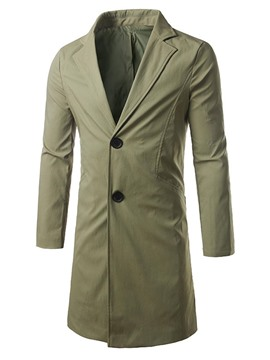 Ericdress Back Slit Lapel Plain Mid-Length Slim Men's Trench Coat