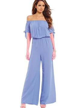 Ericdress Slash Neck Pleated Wide Legs Jumpsuits Pants
