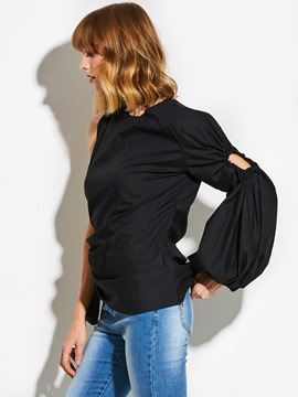 Ericdress Asymmetric Pleated Lantern Sleeve Blouse