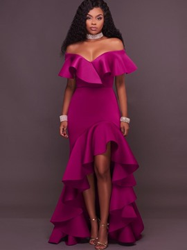 Ericdress Ruffle Sleeve Slash Neck Asymmetrical Maxi Dress