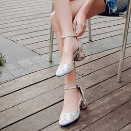 Ericdress Floral Round Toe Chunky Heel Pumps