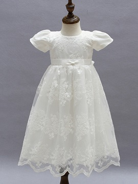 Ericdress Lace A Line Jewel Short Sleeves Christening Gown