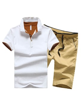 Ericdress Short Sleeve Polo with Half Leg Casual Men's Suit