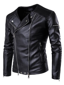 Ericdress Black PU Double Zip Collarless Vogue Casual Men's Jacket