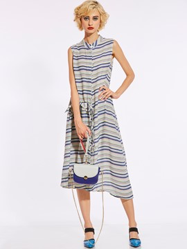 Drawstring Color Block Stripe Women's Day Dress