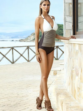 Ericdress V-Neck Color Block Pleated Monokini (Plus Size Available)