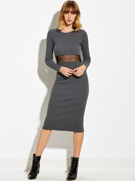 Ericdress Scoop See-Through Mesh Sweater Dress
