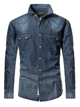 Ericdress Pocket Patched Denim Casual Men's Shirt