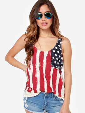 Ericdress Mid-Length Pleated American Flag Vest