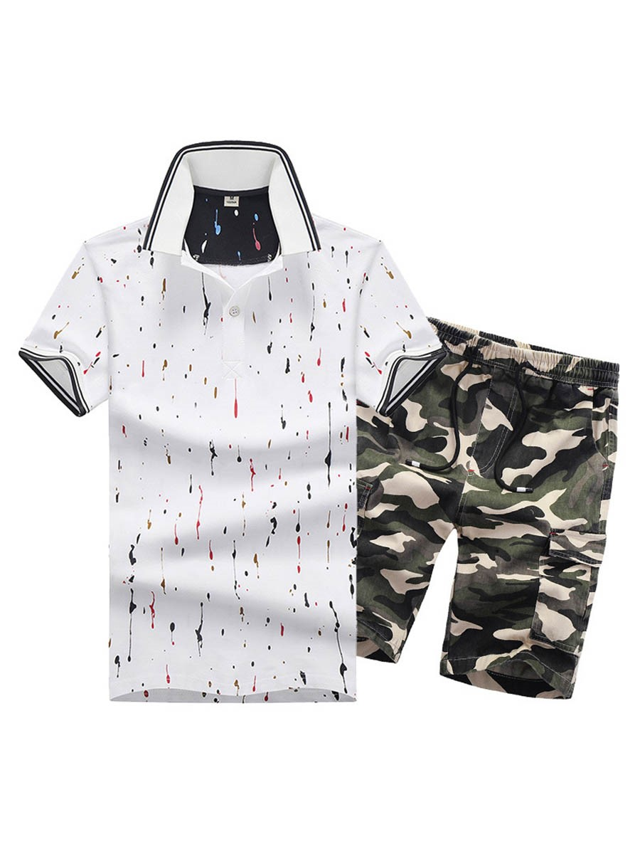Ericdress Short Sleeve Print Camouflage Sports Casual Mens Suit