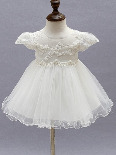 Ericdress Cap Sleeves Appliques Bowknot BabyGirl's Christening Dress