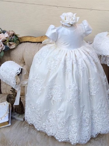 Ericdress Jewel Ball Gown Lace Short Sleeves Baby Christening Gowns