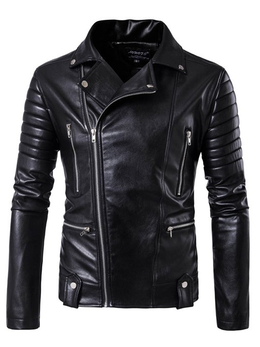 Ericdress Multi-Zip Lapel PU Vogue Men's Jacket