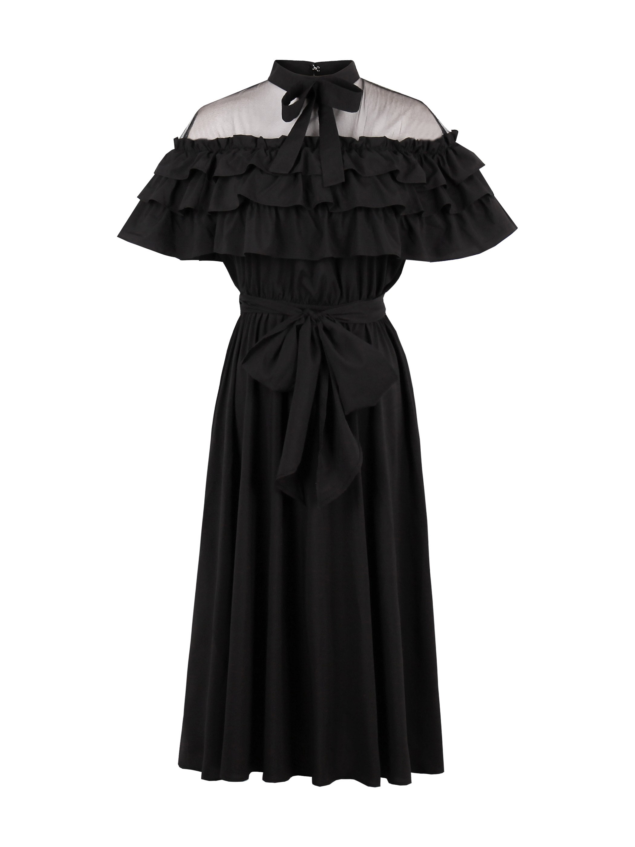 Ericdress Bowknot Bowtie Mesh Lace-Up Frill Dress 12955082