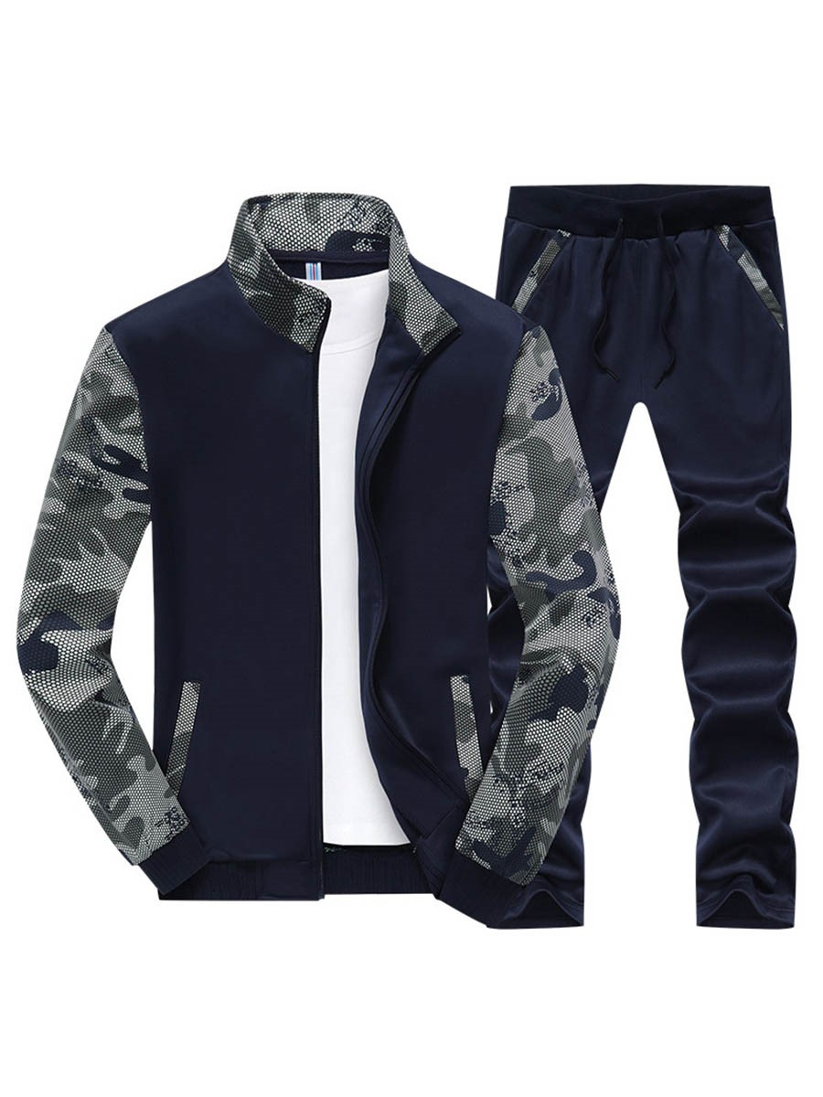 Ericdress Color Block Camouflage Print Sports Casual Mens Suit