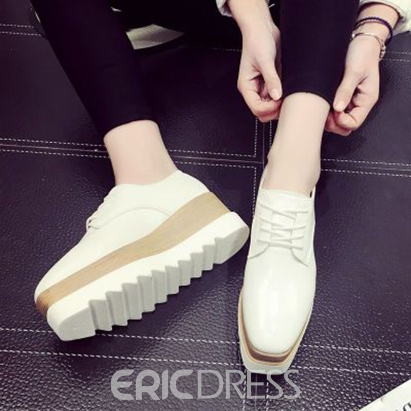 Ericdress Square Toe Lace-Up Flats