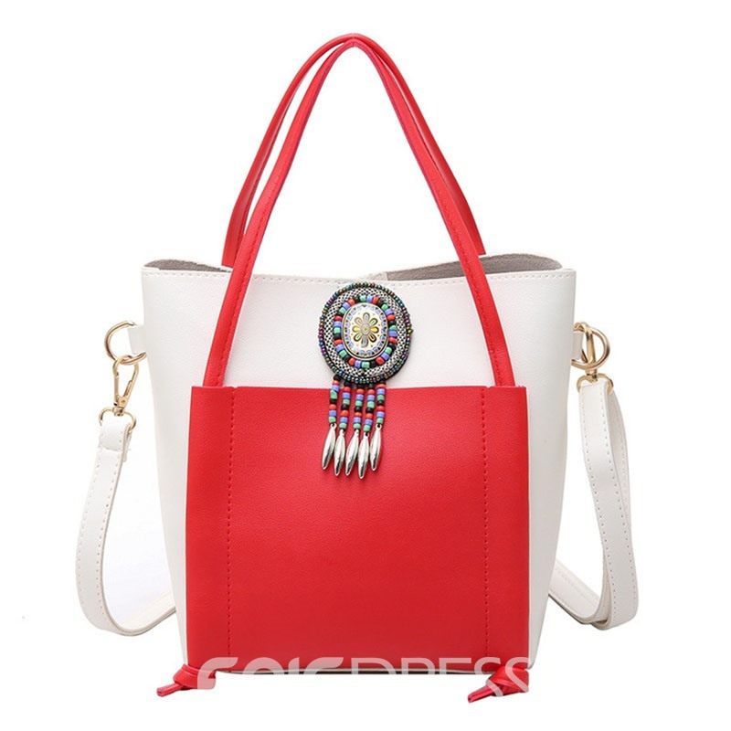 Ericdress National Style Color Block Tote Bag