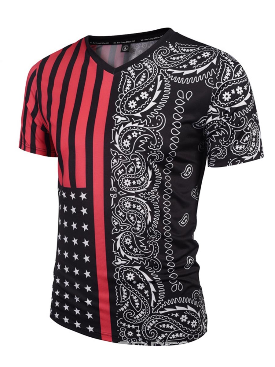 Ericdress Ethnic Style Short Sleeve Print Men's T-Shirt