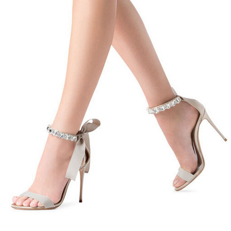 Ericdress Open Toe Lace-Up Stiletto Sandals With Bowknot