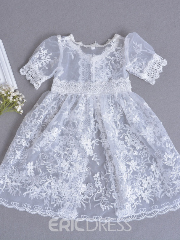 Ericdress Scoop Lace Ball Gown Half Sleeves Christening Dress