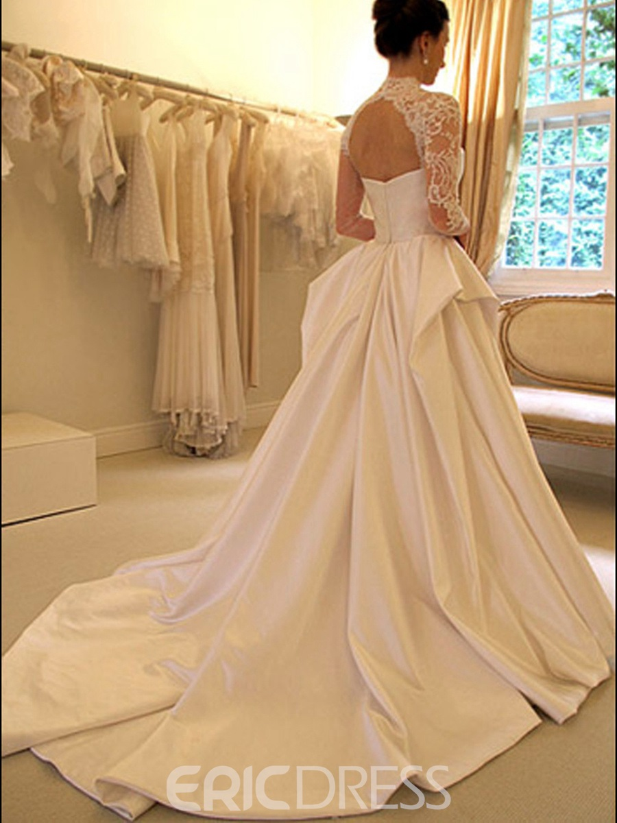 Ericdress Vintage Ball Gown Lace Long Sleeves Matte Satin Wedding ...