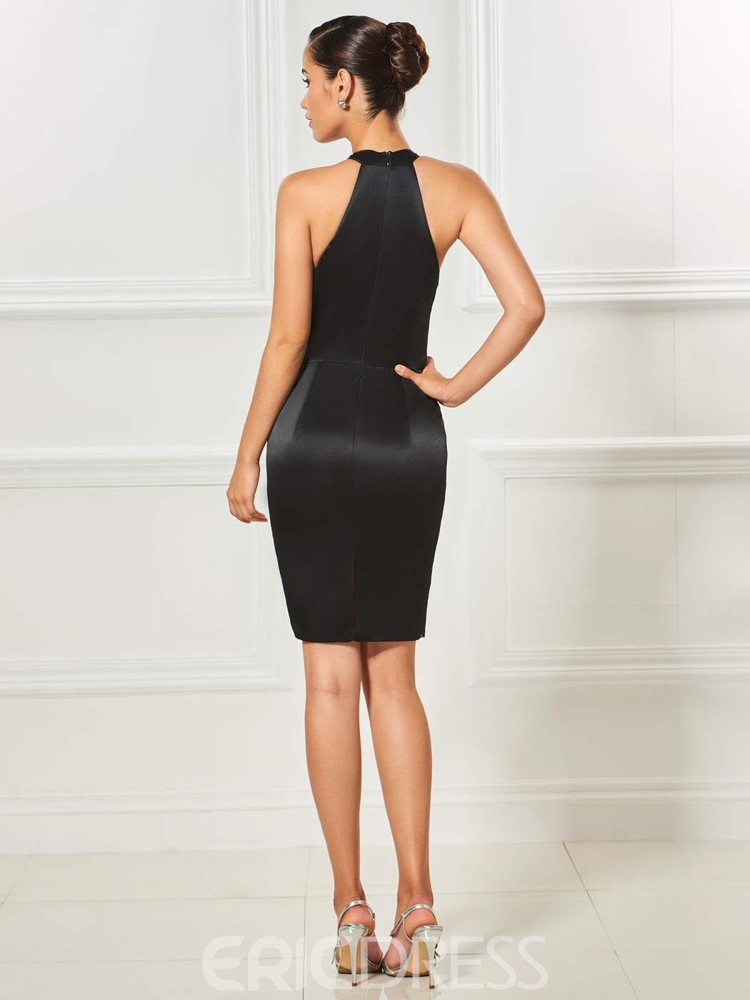 Ericdress Sheath Beaded Halter Short Cocktail Dress