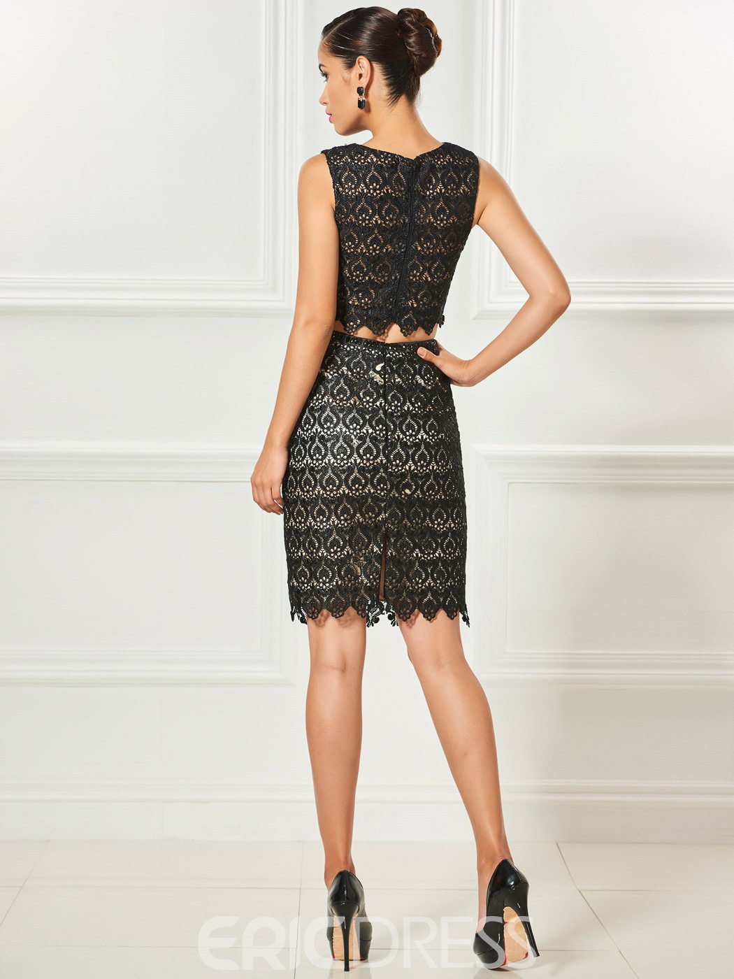 Ericdress Sheath Two Pieces Lace Knee Length Cocktail Dress