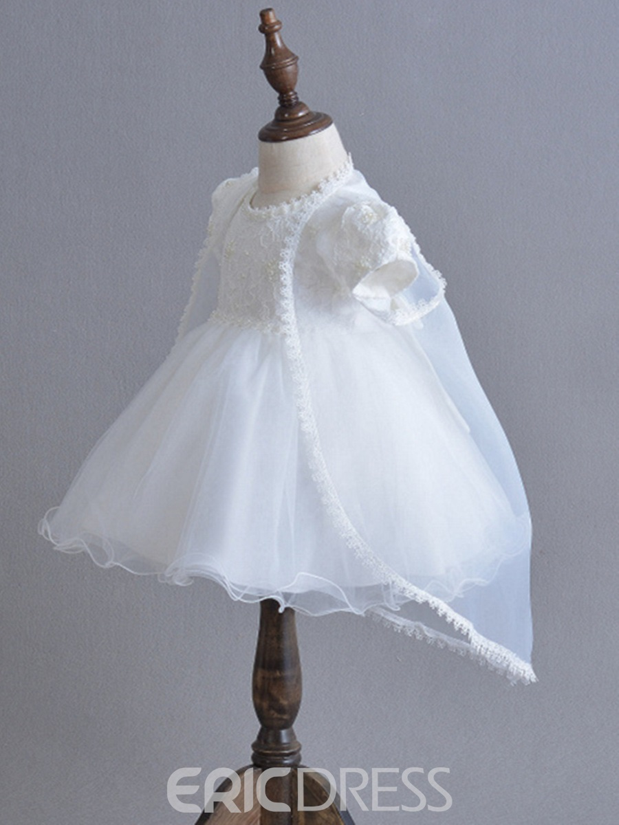 Ericdress Tulle Short Sleeves Two-Piece Suit Christening Dress