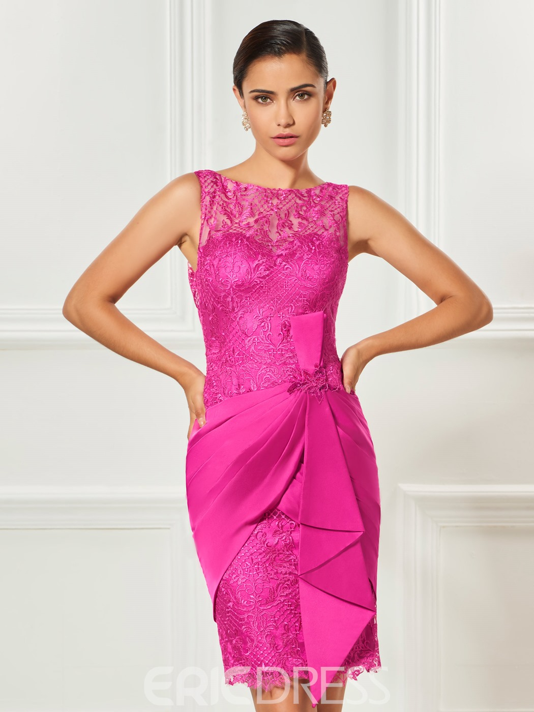 Ericdress Sheath Lace Short Cocktail Dress With Zipper-Up
