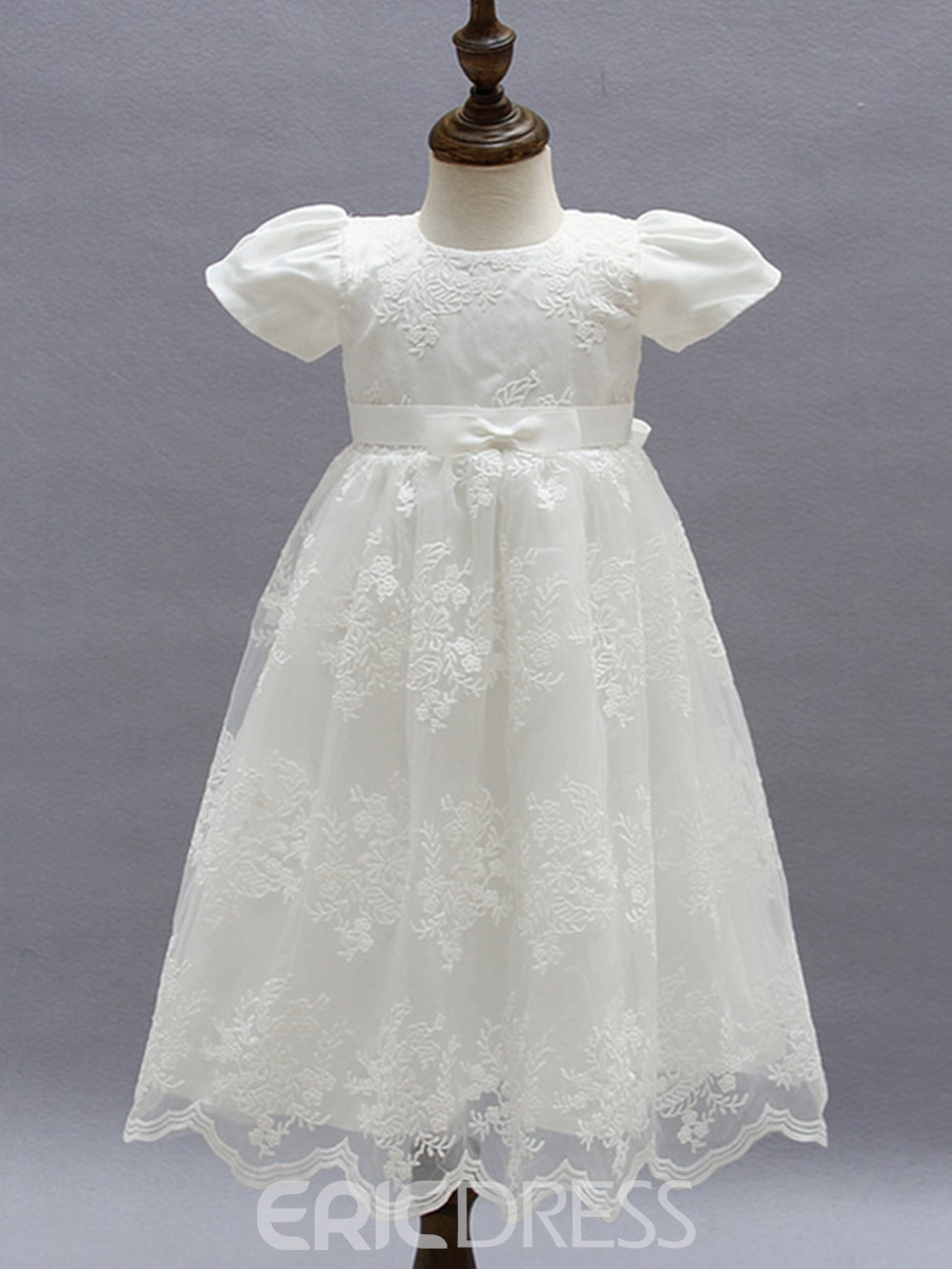 3fe07761f Ericdress Lace A Line Jewel Short Sleeves Christening Gown 12891987 ...